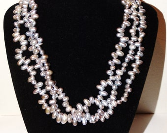 Vintage Sterling Stamped Gray Freshwater Pearl Necklace.