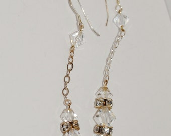 "Free Shipping Sterling Faceted Crystal 2.5"" Earrings."