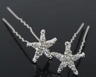 Beach wedding hair clips starfish pair of 2 beach bride sea life updo hairstyle accessories starfish clips/pins