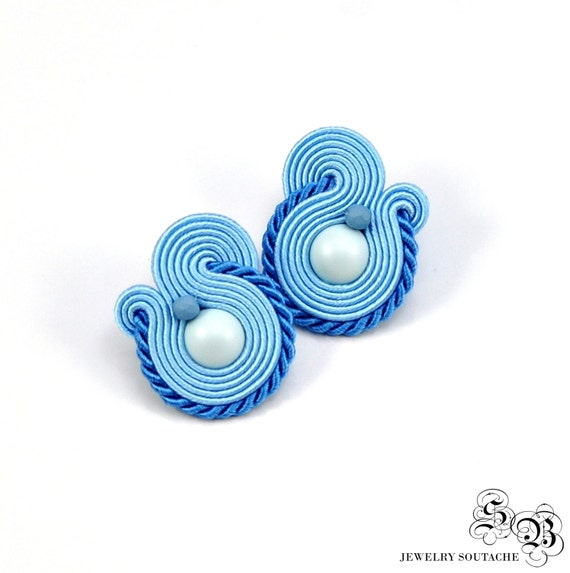 Small Blue Earrings: Small Blue Soutache Earrings Soutache Stud Earrings Blue