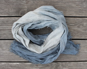 Grey Linen scarf, grey ombre scarf, charcoal grey linen, graphite grey, Natural Linen scarf, Rustic scarf, Boho scarf, wrap, shawl