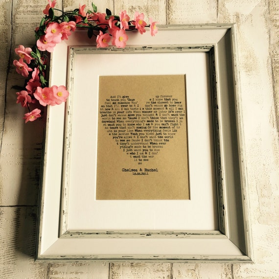 Personalised first dance wedding song lyrics framed mounted