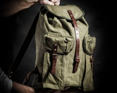 Canvas backpack by Kruk Garage made of Military canvas and leather straps Men's backpack Camping backpack Hiking backpack Travel backpack