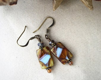 Earthy Rectangle Earrings, Amber Picasso Czech Glass Earrings, Bohemian Style Jewelry