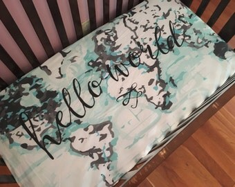 Hello World CRIB SHEET // fitted sheet for baby toddler crib