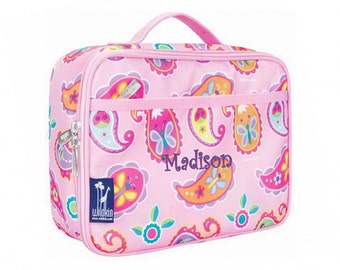 Personalized Classic Pink Paisley Butterflies & Bees Lunch Box
