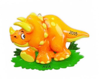 Personalized Dinosaur Kids Christmas Ornament - Triceratops