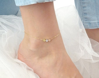 Custom initial dot anklet, Triple Coin anklet, Personalized dot anklet, Three wishes, Three tone anklet, Gold Silver, Rose gold anklet