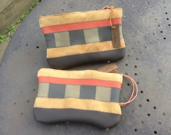 Kit pouch leather patchwork