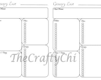 PRINTED Grocery List/Insert For Your Traveler's Notebook