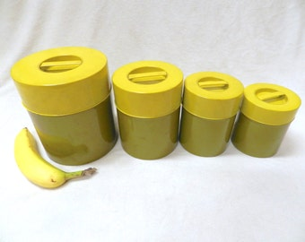 Shabby Chic Metal Canister Set - Yellow and Olive Green - Retro Vintage Kitchen