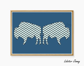 Nursery Wall, Animals Print, Bison, Buffalo, Chevron, Navy Blue, Kids Room, Printable Art, Instant Download, Geometric Art