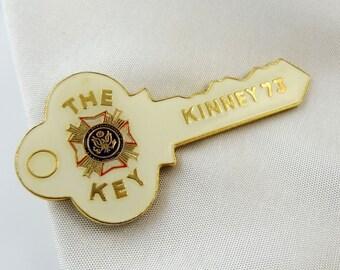 Vintage Tie Clip The Key Kinney 73 Heavy Enamel Help?