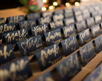 Navy blue and gold placecards