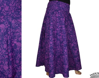 Long Skirt with flower print purple Cotton