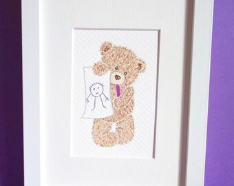 Teddy bear original painted art- Nursery picture - Baby gift -Deco for kids & baby's room - MY DRAWING