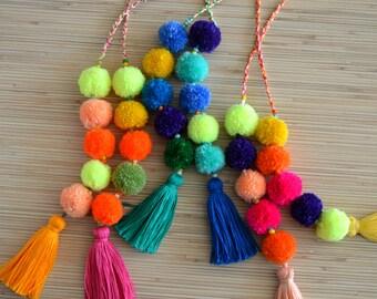Pom pom bag charm Tassel bag charm Neon pink tassel bag charm Bag accessories Boho accessories Handbag charm Pom pom purse charm