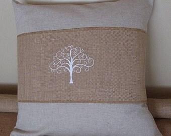 Tree of life natural burlap pillow wrap.  Tree of life adjustable decorative pillow wrap