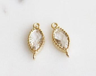 A2-183-G-CL] Crystal / 6 x 10mm / Gold plated / Marquise Glass Pendant / 2 piece(s)
