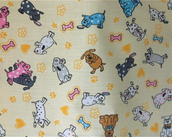 Cream Dogs Poly cotton Fabric Dress/Craft Fabric …