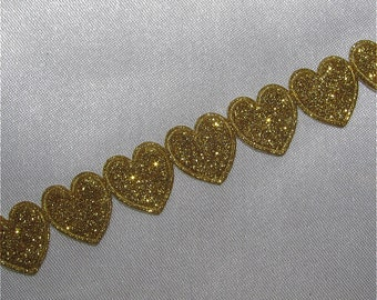 Metallic Gold Heart Trim By The Metre …