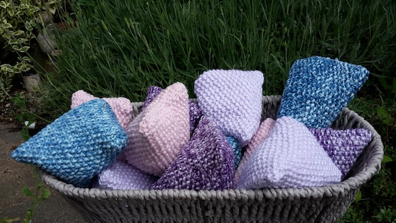 Knitting Pattern Lavender Bag : Set of 3 Lavender Bags Sachets Knitted Lavender Bags