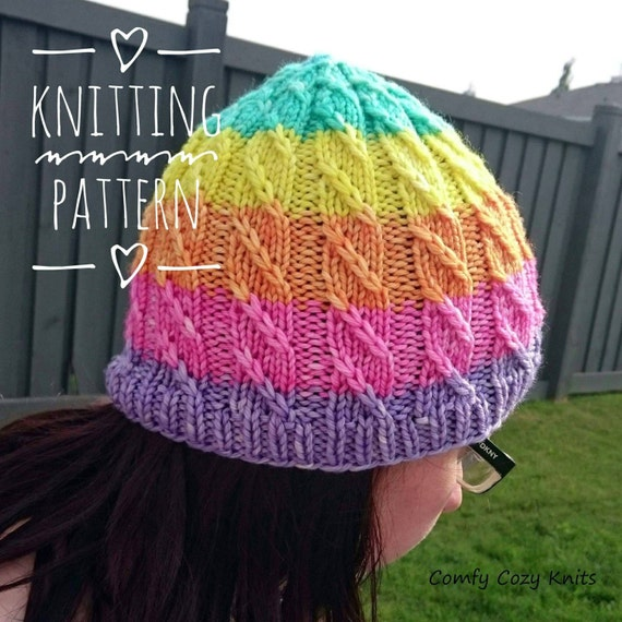 Knitting Pattern For Unicorn Hat : Knitting PATTERN Unicorn Slayer Twisted Hat Spiral Hat