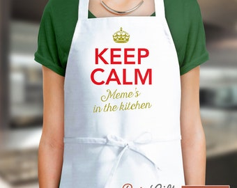 Meme Gift, Birthday Gift For Meme! Funny Apron, Keep Calm, Meme's Kitchen, Cooking Gift, Awesome Meme, Personalized, Alternative Meme Shirt