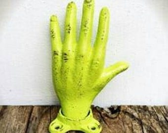 BOLD lime green hand wall hook // rustic shabby chic // coat towel key hook // decorative entryway storage
