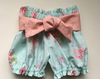 Shabby Chic High Waist Mint Green Floral Ruffle Bloomer Summer Shorts Newborn / Baby / Toddler