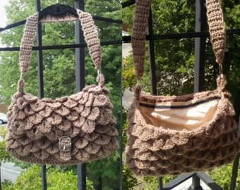 Crochet purse crocodile stitch tan