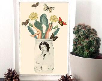 "Cactus print, surreal art print, surrealism, cactus wall art, cactus poster, home decor wall art, mixed media collage art - ""Jars of beauty"""