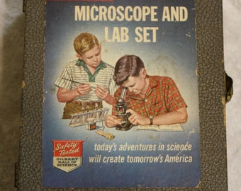 Vintage Gilbert Microscope and Lab Set Silver Medal 13071 Mirro-Flector