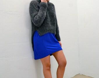 Sleeveless Dip Hem Dress in Cobalt