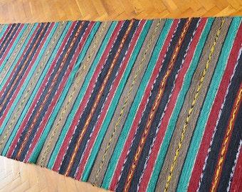 Rag Rug, Kilim rag rug, Woven Rug, Boho Chic Shabby Rugs, Hippie Decor, Rag Rug Runner,  Runner Cotton Loomed Rug, 10.7 ft/3.05 ft