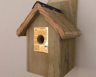 The 'Brass Plate' Bird Nesting Box - Henry's Bird Boxes, Handmade in Wales