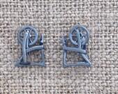 spinning wheel earrings - oxidized sterling silver studs