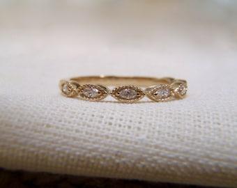 14K Gold Marquise Cut Diamond Half Eternity Stackable Wedding Band With Milgrain Edges