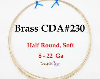 1 LB, Jeweler's Brass Wire, Half Round, Dead Soft, 8 12 14 16 18 20 21 22 Gauge, CDA#230