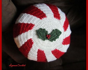 Crocheted Peppermint Style Pillow Cover with a Sprig of Holly . . .