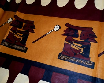 African Wax Print, African Stools, Cotton fabric