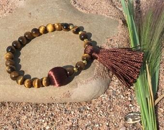 Tiger eye bracelet,Tassel Brown Jewelry,Effect Mirror Gems,Lucky Bracelet,Marble Round Gems,Zen Yoga Jewelry,Custom Jewelry Light,Boho Chic