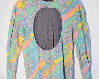 Betsey Johnson Extremely Rare psychedelic mesh club kid top - vintage late 80's BJ Punk label