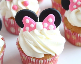 Minnie mouse ears and bow cupcake toppers-minnie mouse party, minnie ears and bow cupcake toppers, minnie mouse cupcake toppers