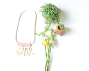 fabric necklace • cotton necklace • textile jewelry • tassle necklace • fringe necklace