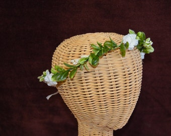Delicate Everyday Greenery Headband - vine headband - simple white florals - bridesmaids, bridal, flower girls, homecoming, prom