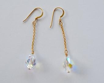 Elegant 14k Gold Filled Drop Earrings with Clear Swarovski Crystal