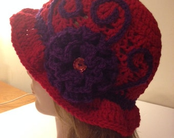 Crocheted Red Hat with purple flower, (Red Hats Society hat)