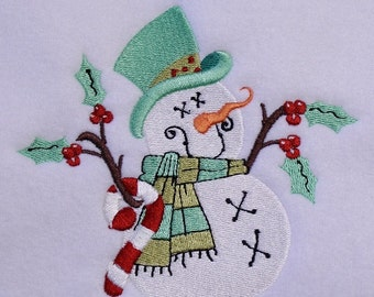 Prim Snowman Machine Embroidery Design