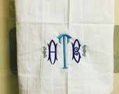 monogrammed kitchen towel, flour sack towel, custom towels, wedding gift, graduation gift
